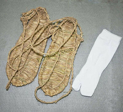 New Cosplay Bleach Straw Sandals Slipper Shoes + Two Toe Sock Free