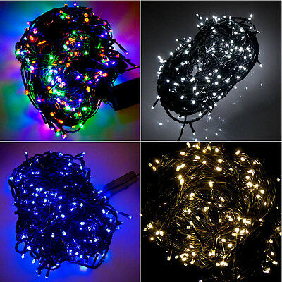 300 LED Green Cable Christmas Tree Fairy Lights String 8 Chasing Static Settings