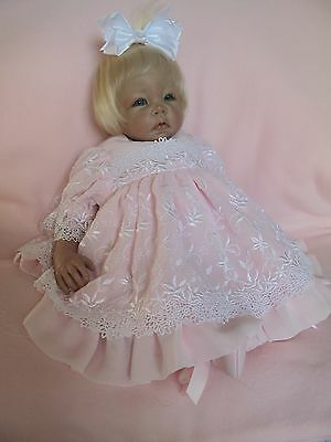 # 5 Light  Pink  chiffon and dwhite Venise  Short Dress For Reborn Baby