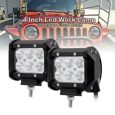 2Pcs 4Inch 30W Cree Led Work Light Bar Spot Offroad Driving Reverse 4X4 Flood