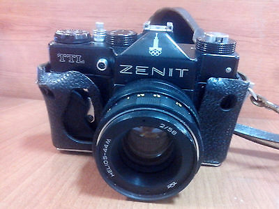 ZENIT TTL lens HELIOS - 44M (2/58) with FLASH SUNPAK GX14 and Leather Case