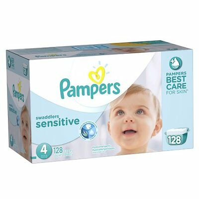 Pampers Swaddlers Sensitive Diapers Size 4 Economy Pack Plus 128 Count , New, Fr