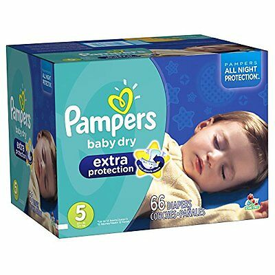Pampers Baby Dry Extra Protection Diapers Size 5 Super Pack 66 Count (Packaging