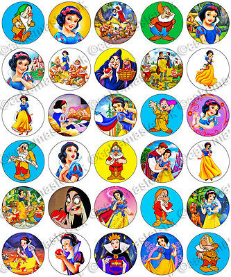30 x Snow White & The Seven Dwarfs Edible Rice Wafer Paper Cupcake Toppers