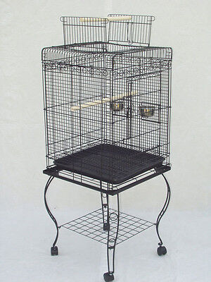 "Bird Parrot Cage Cockatiel Amazon African Grey Caique Conure 20x20x57""H BLK 514"