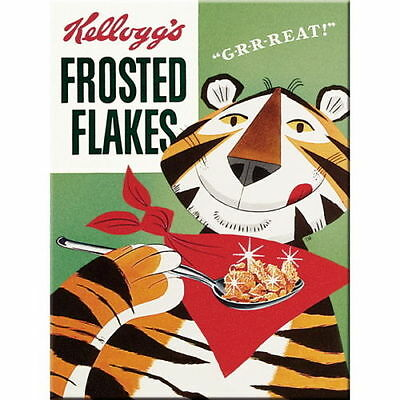 Retro Metal Magnet Kellogg's 'FROSTED FLAKES' Cereal 8 x 6cm Vintage Look Frosty