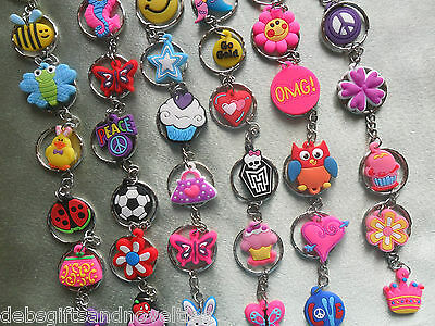 Bulk Lot  10 Kids Or Adults Mixed Key Rings With Charm  Toy  Party Favor Novelty
