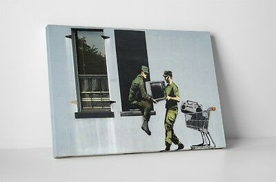 """Banksy - Looting Soldiers Stretched Canvas Print 20""""x16"""". BONUS FREE WALL DECAL!"""