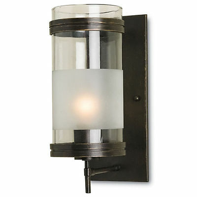 Walthall Bronze Gold with Frosted/Clear Glass Mid-Century Wall Sconce