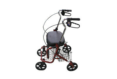 BN Portable Mobility Walker Rollator Walking Frame Chair With Back Rest Red