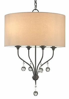 Penmere Black Wrought Iron/Crystal Transitional Chandelier