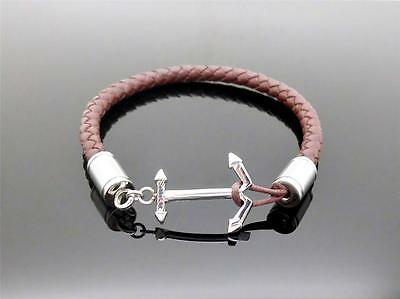 Stainless Anchor Style Brown Leather Cremation Memorial Keepsake Urn Bracelet