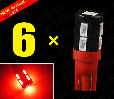 6X Red T10 High Power 5630 10-SMD Side Wedge Interior Light 2825 192 168