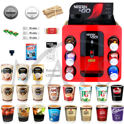 Nescafe & And 2 Go Dispenser Hot Drinks Vending Machine + 20 Drinks Express Del