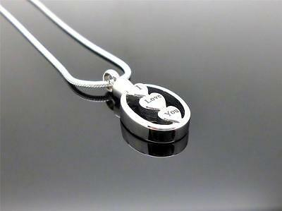 316L S/Steel Silver Oval I Love You 3 Hearts Cremation Memorial Urn Pendant NIB