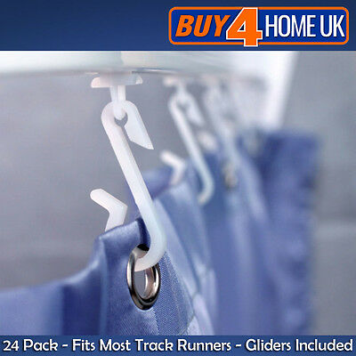 Replacement White Shower Curtain Hooks & Gliders - Bath Rail Track Pack of 24