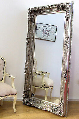 "Louis Large Ornate Carved French Frame Wall Leaner Mirror Silver - 35"" x 69"""