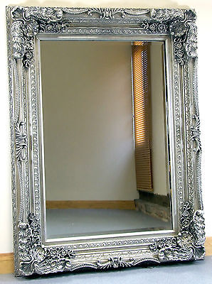 "Louis Ornate Shabby Chic Vintage Large French Wall Mirror Silver 35"" X 47"""