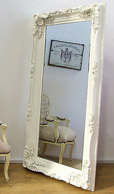 """Louis Large Ornate Carved French Frame Wall Leaner Mirror Cream - 35"""" X 69"""""""