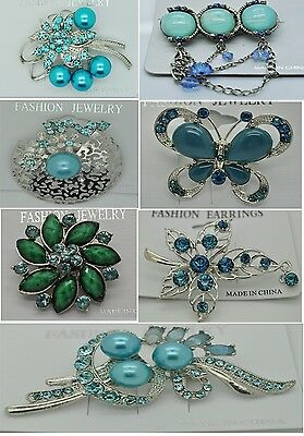 A-70 Wholesale Lot 7 Pins  Vintage Style  Brooches Pins Blue  Bouquet