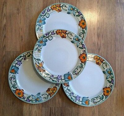 "Set of 4 GIBSON Designs china GID257 pattern 10 5/8"" DINNER Plates Vines Flowers"
