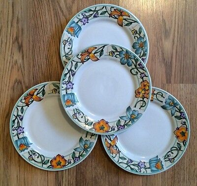 "Set of 4 GIBSON Designs china GID257 pattern 7 5/8"" SALAD  Plates Vines Floral"