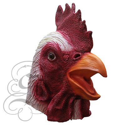 Latex Full Head Animal Popular White Rooster Fancy Dress Up Carnival Party Mask