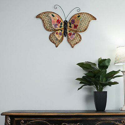 Wrought Iron Metal Wall Art YELLOW BUTTERFLY Vintage Outdoor Hanging Garden