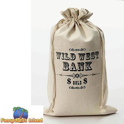 WILD WEST BANK MONEY BAG LOOT GOLD SACK - fancy dress costume accessory