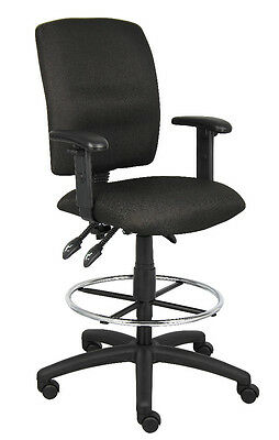 Black Drafting Stool Chair With Multi-Function Tilting & Adj Arms B1636
