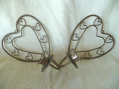 Heart Shaped Antique Brass Colored 8 inch Wall Candle holder Pair Artistic