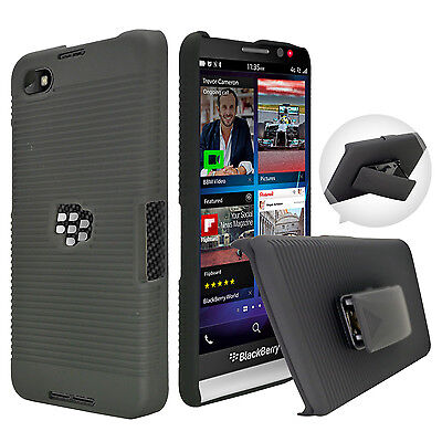 BLACK RUBBERIZED HARD Case + Belt Clip Holster Stand For Blackberry