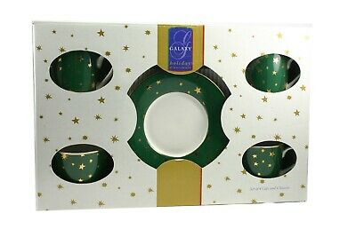 Galaxy Holiday Dinnerware Set of 4 Cups and Saucers Green w/ Gold Stars  NIB