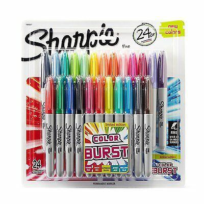 Sharpie Color Burst Permanent Markers, Fine Point, Assorted Colors, 24-Count, Ne