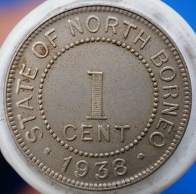 1938 H British North Borneo 1 Cent KM# 3 aEF Coin