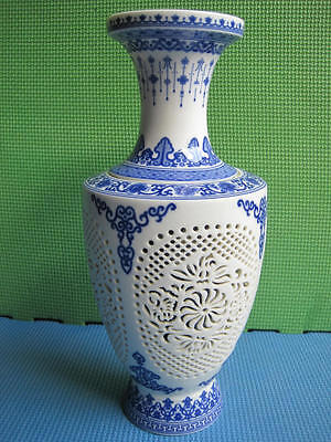 AAA  Hollow Carving Chinese Blue &White Porcelain Big Vase 009