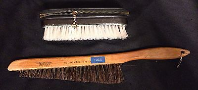 vintage mens grooming Brush With Zipper Compartment And Horsehair Grooming Brush
