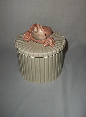 Vintage Fitz And Floyd Trinket Jewelry Box Pink Shells 1976 NICE