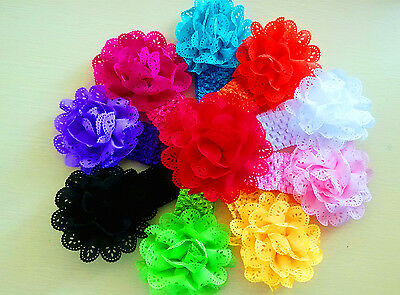 10pcs Elastic Cute Lace Flower Baby Toddler Headband Hair Bow Band Accessories
