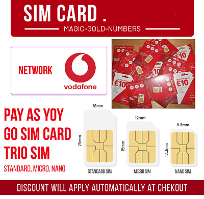Official New Vodafone Uk Triple Sim Card Pay As You Go Payg Standard, Micro Nano