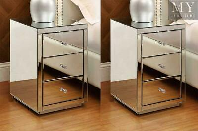 (PAIR) Vegas Mirrored bedside table 3 drawer - Mirrored Furniture