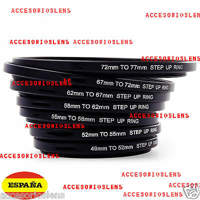 JUEGO DE ANILLAS ADAPTADORAS DE FILTROS 52 58 62 67 72 77 82 mm STEP UP RING