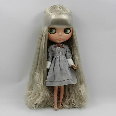 "Takara 12"" Nude Neo Blythe Nude Doll From Factory Grey Silver Hair TanSkin BL089"