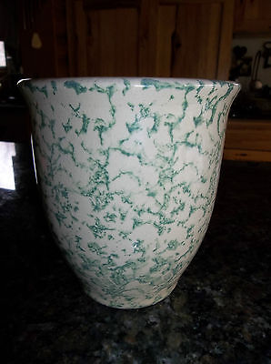 Vintage Green Spongeware 1 Qt Kitchen Crock RRP Co. Roseville Ohio
