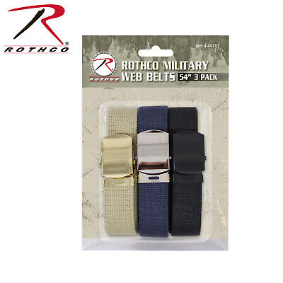 54 Inch Cotton Military Web Belt 3 Pack With Buckles 44170 Rothco