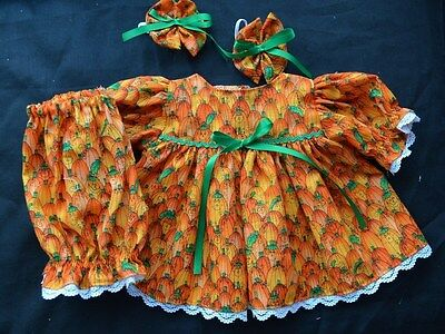 """CABBAGE PATCH  DOLL CLOTHES 16"""" HALLOWEEN PUMPKINS  DRESS BLOOMERS BOWS"""