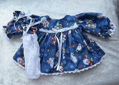 """CABBAGE PATCH  DOLL CLOTHES 16"""" CHRISTMAS ANGEL SNOWMEN DRESS TIGHTS & HAIR BOWS"""