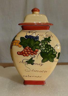 Hand Painted Nonni's Biscotti Cookie Jar - Winery Theme