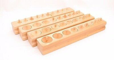 NEW Montessori Sensorial Material - Basswood Knobbed Cylinder Blocks