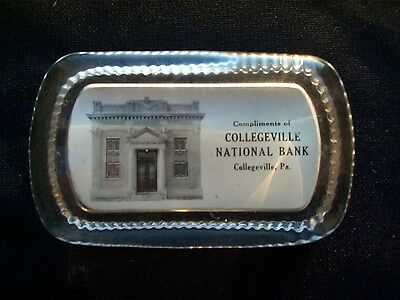 Antique Collegeville National Bank ~ Collegeville Pa~Advertising Paperweight